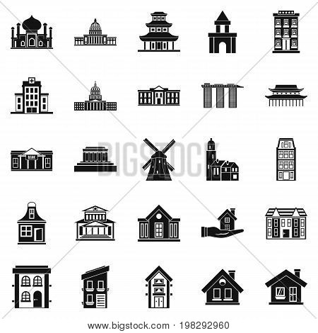 Building site icons set. Simple set of 25 building site vector icons for web isolated on white background