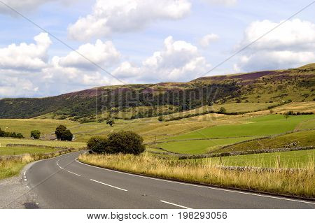 A country road through the Peak District National Park in Derbyshire