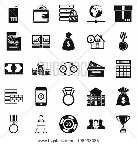Cash costs icons set. Simple set of 25 cash costs vector icons for web isolated on white background