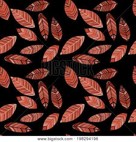 Colored autumn leaves in red tones on black field. Seamless raster pattern. Foliage.