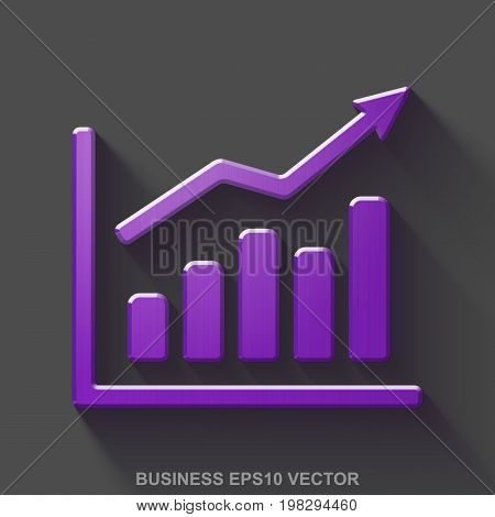 Flat metallic finance 3D icon. Purple Glossy Metal Growth Graph icon with transparent shadow on Gray background. EPS 10, vector illustration.