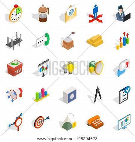 Model icons set. Isometric set of 25 model vector icons for web isolated on white background