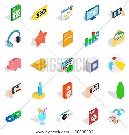 Camera phone icons set. Isometric set of 25 camera phone vector icons for web isolated on white background