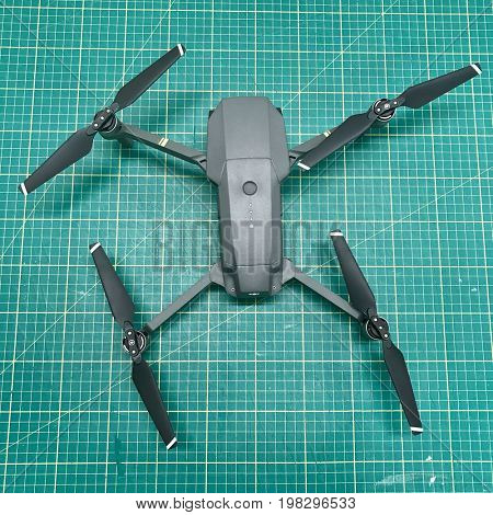 LONDON - AUGUST 2, 2017: DJI Mavic Pro gimbal stabilised 4K video and photo camera drone.