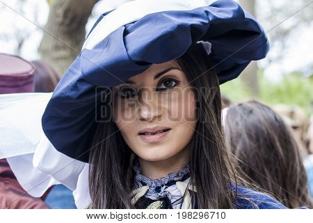 CAGLIARI, ITALY - JUNE 1, 2014: Sunday at the Great Jatte Public Gardens - portrait of a beautiful woman in Victorian costume - Sardinia
