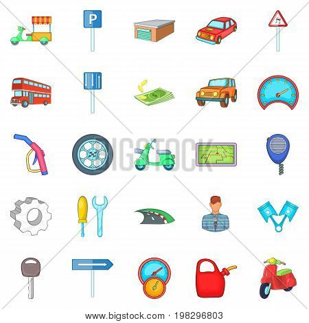 Motor car icons set. Cartoon set of 25 motor car vector icons for web isolated on white background