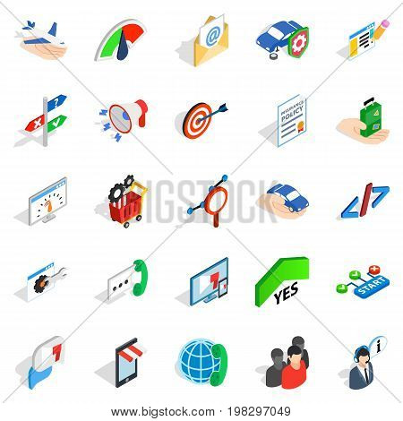 Profession icons set. Isometric set of 25 profession vector icons for web isolated on white background