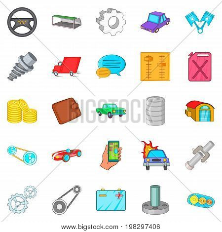 Car mending icons set. Cartoon set of 25 car mending vector icons for web isolated on white background