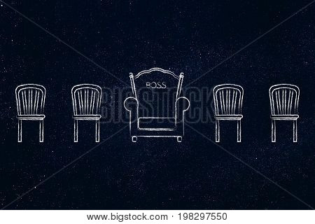 Boss Throne Among Other Normal Chairs (hierarchy Concept)