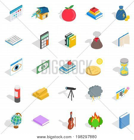 Chemical reactions icons set. Isometric set of 25 chemical reactions vector icons for web isolated on white background