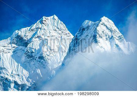 Mountain peak Everest. Everest highest mountain in the world. National Park Nepal. Everest Mountain Peak - the top of the world (8848 m)