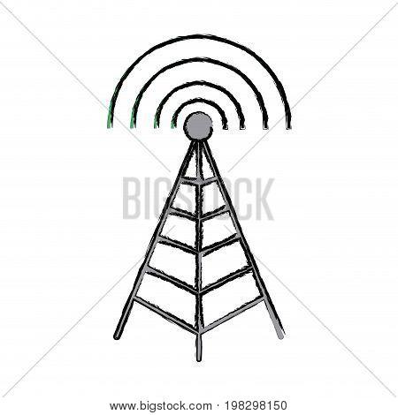 antenna mast sign tower communication transmitter vector illustration