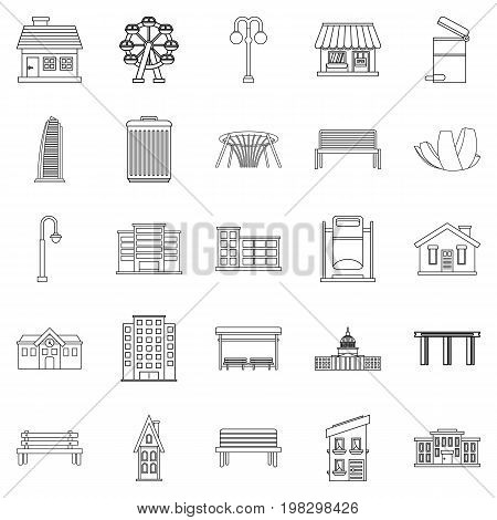 Interesting places icons set. Outline set of 25 interesting places vector icons for web isolated on white background