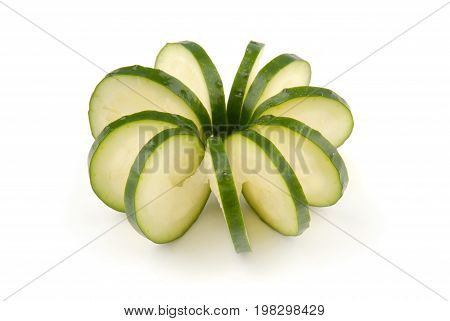 cucumber carved, fresh decoration, green and white