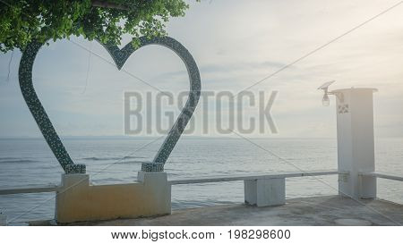 love on the beach landscape in the morning heart on beach. Romantic love background. love concept