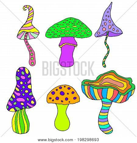 Set of fantastic psychedelic decorative mushrooms on a white background.Vector hand drawn color illustration.Colored page for adults and children.