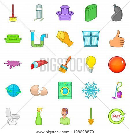 Service worker icons set. Cartoon set of 25 service worker vector icons for web isolated on white background