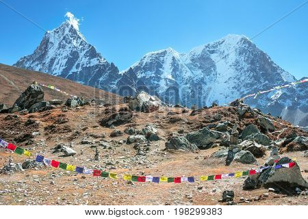 Mountain peak Everest. Everest highest mountain in the world. National Park Nepal. Everest Mountain Peak - the top of the world (8848 m)