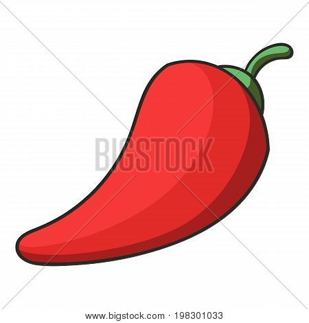Red hot natural chili pepper icon. Cartoon illustration of red hot natural chili pepper vector icon for web design