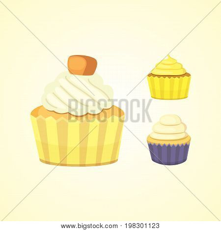 Set of cute vector cupcakes and muffins. Colorful cupcake isolated for food poster design