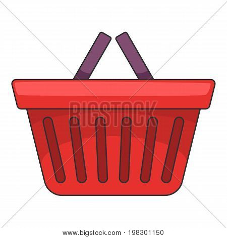 Shopping basket icon. Cartoon illustration of shopping basket vector icon for web design