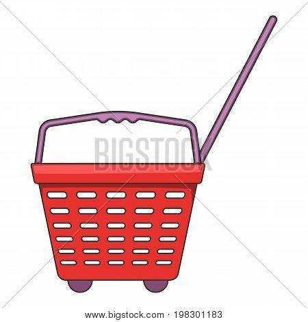 Shop basket with wheels icon. Cartoon illustration of shop basket with wheels vector icon for web design
