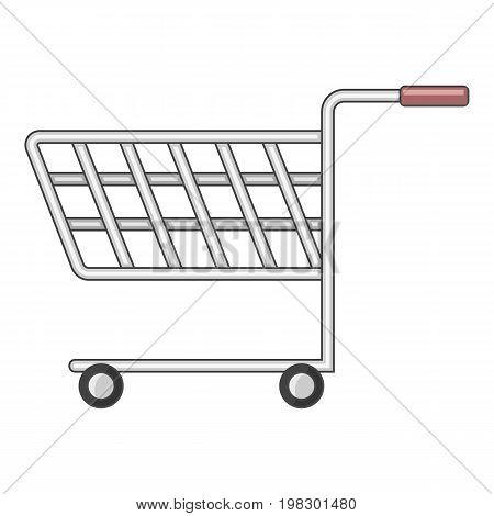 Shopping cart with wheels icon. Cartoon illustration of shopping cart with wheels vector icon for web design
