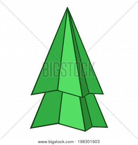 Origami fir tree icon. Cartoon illustration of origami fir tree vector icon for web design
