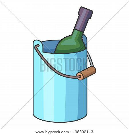 Wine bottle with ice bucket icon. Cartoon illustration of wine bottle with ice bucket vector icon for web design