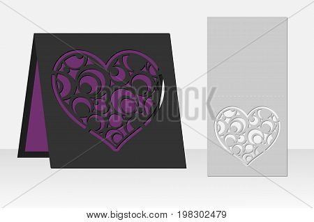 Card with heart circle geometric pattern for laser cutting. Silhouette design. It is possible to use for birthday invitations, presentations, greetings, holidays, celebrations, save the day wedding. Vector illustration.