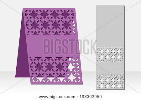 Greeting card laser cutting. Silhouette design. Ethnic pattern. Format And 5. It is possible to use for invitations, presentations, greetings, holidays, celebrations, weddings, save the day. Vector illustration.