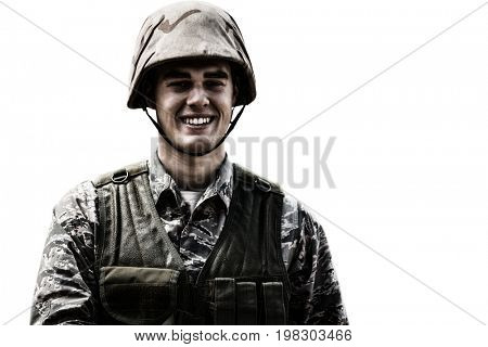 White background with vignette against portrait of smiling military soldier