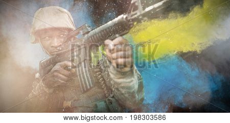 black against military soldier aiming with a rifle