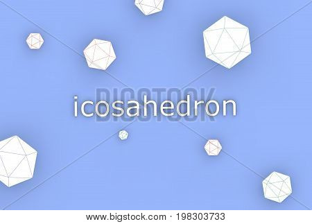 3d illustration of icosahedron isolated on blue