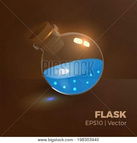 Bottle of mana, magic elixir. Vector illustration of tranparent flask with water, blue liquid. Game vial icon, interface for rpg game. Easy to change color. Realistic.