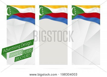 Design Of Banners, Flyers, Brochures With Flag Of Comoros.