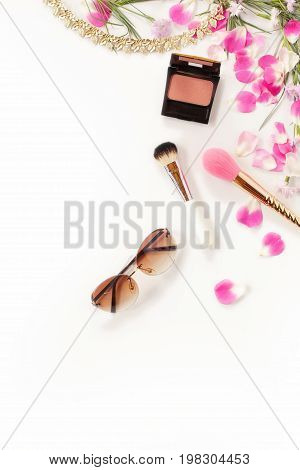 Flat Lay Still Life Of Fashion Woman, Objects On White Background. Beauty Blog Concept. Top View.