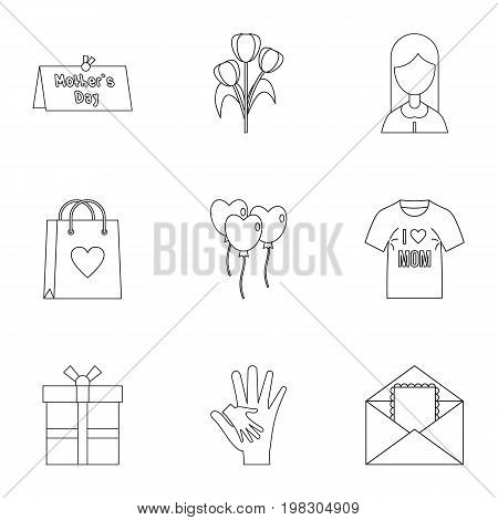 Happy mama day icon set. Outline style set of 9 mother day vector icons for web isolated on white background