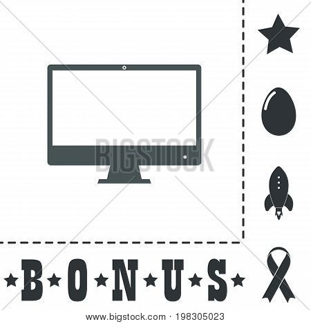 Computer display - Monitor. Simple flat symbol icon on white background. Vector illustration pictogram and bonus icons