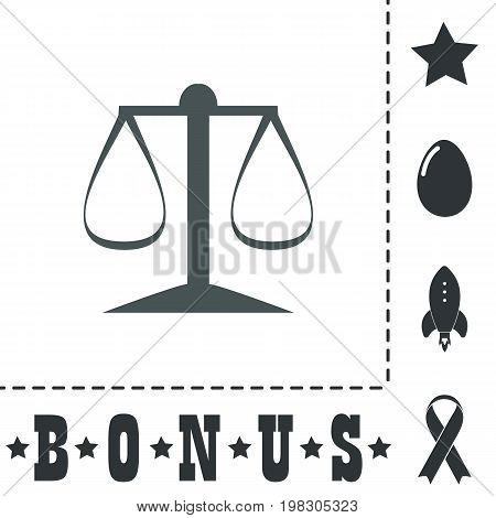Scales balance. Simple flat symbol icon on white background. Vector illustration pictogram and bonus icons