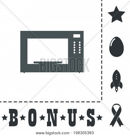 Microwave oven. Simple flat symbol icon on white background. Vector illustration pictogram and bonus icons