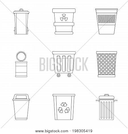 Garbage storage icon set. Outline style set of 9 garbage storage vector icons for web isolated on white background