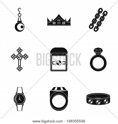 Bijouterie icon set. Simple style set of 9 jewelry vector icons for web isolated on white background