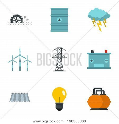 Energy sources icon set. Flat style set of 9 energy sources vector icons for web isolated on white background