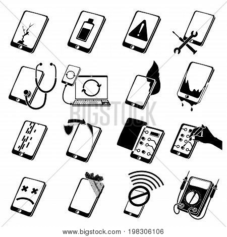 Repair phones fix icons set. Simple illustration of 16 repair phones fix vector icons for web