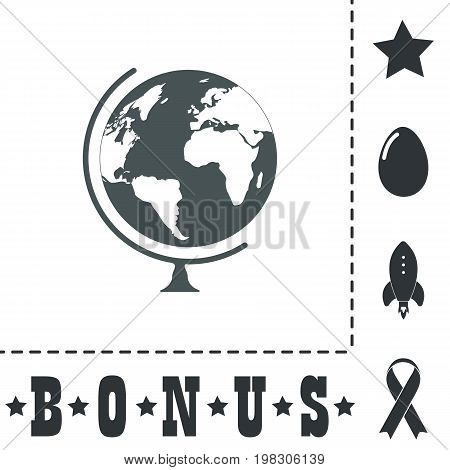 Globe. Simple flat symbol icon on white background. Vector illustration pictogram and bonus icons