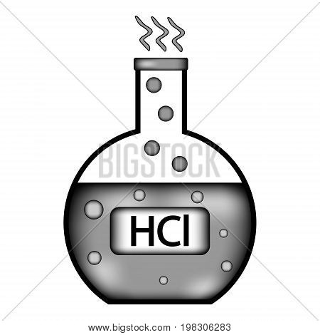 Laboratory glass with hydrochloric acid sign icon on white background. Vector illustration.