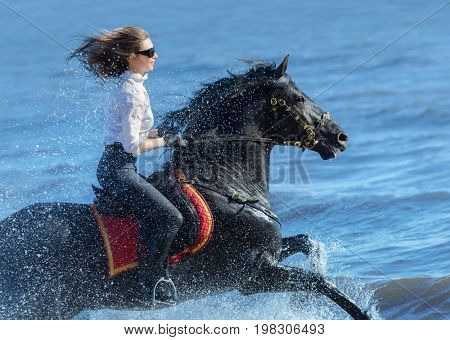 Horse woman and Spanish black horse speed running into sea with splashes