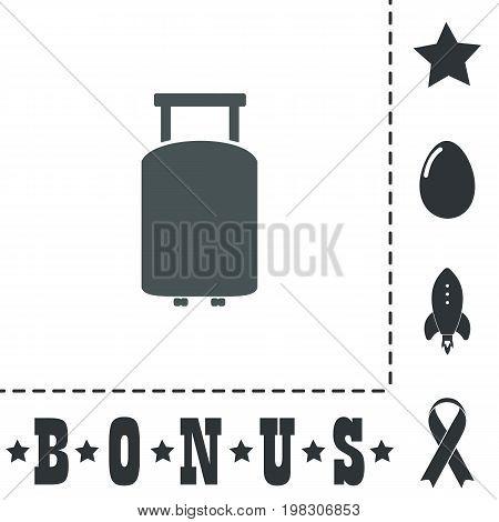 Travel suitcase. Simple flat symbol icon on white background. Vector illustration pictogram and bonus icons