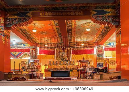 SAMDRUPTSE MONASTERY RAVANGA SIKKIM INDIA - OCTOBER 20 2016 : Interior view of Samdruptse Buddhist Monastery Sikkim India. Picture taken with permission from religious authority.